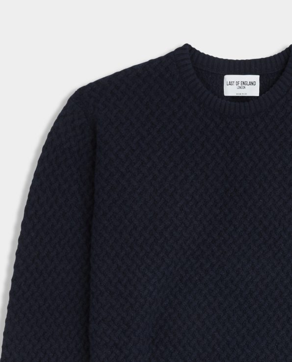 Last of England Basket Weave Navy Jumper