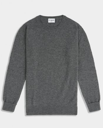 Last of England Moss Stitch Mid Grey Jumper
