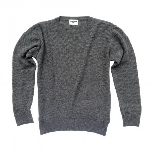 Moss stitch lightweight 100% cashmere jumper in grey