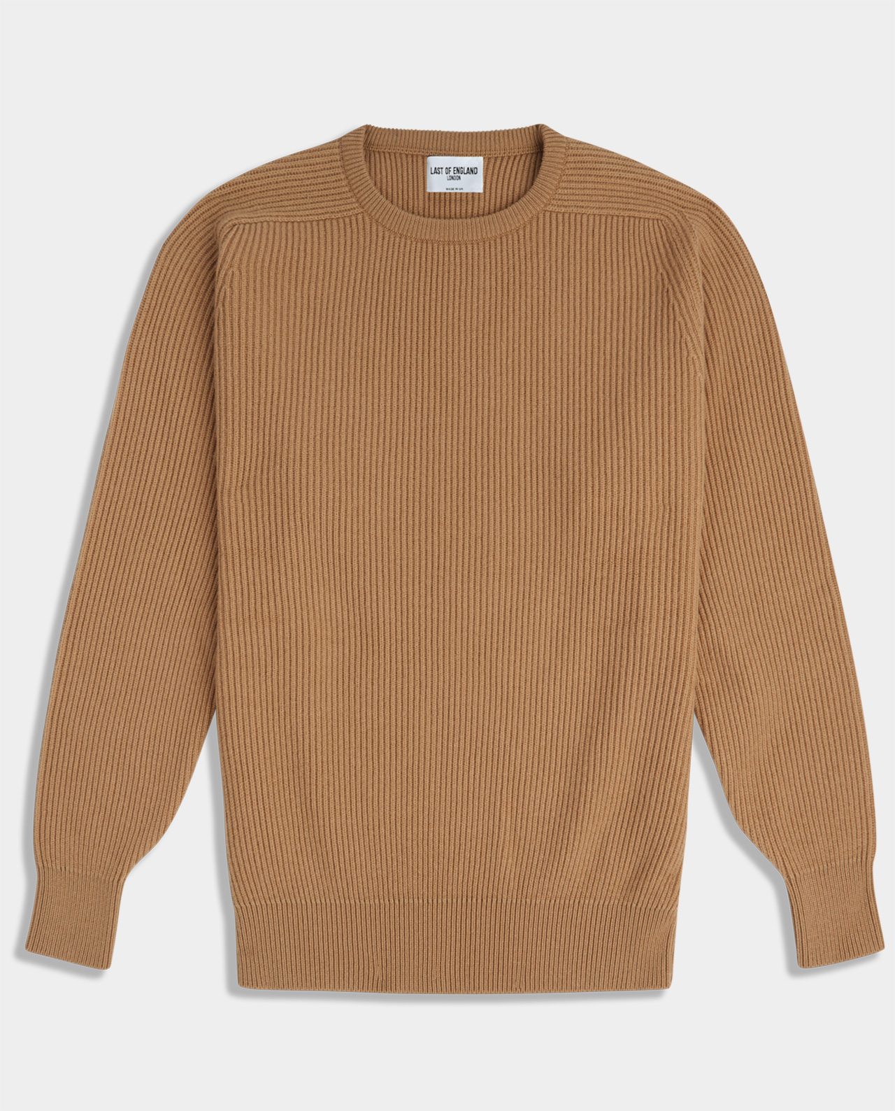 Last of England Fisherman Rib Camel Jumper