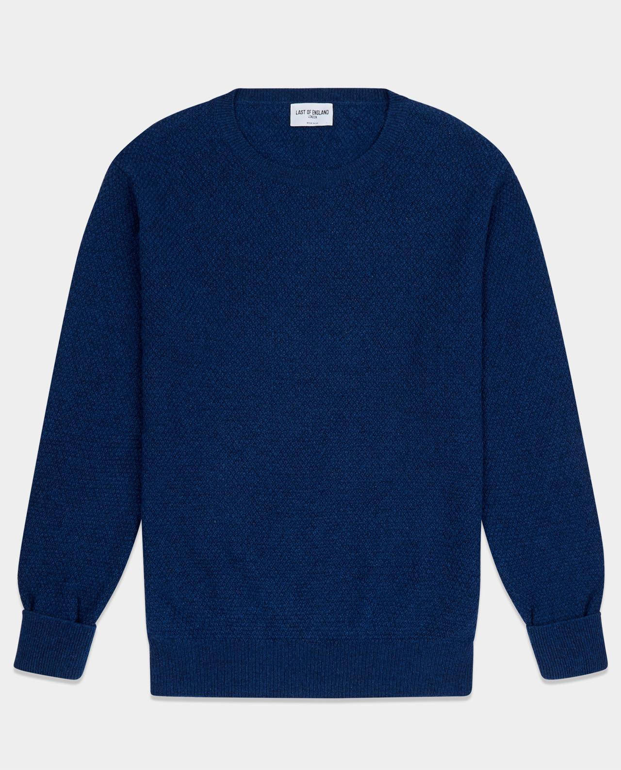 Last of England Moss Stitch Midnight Blue Jumper