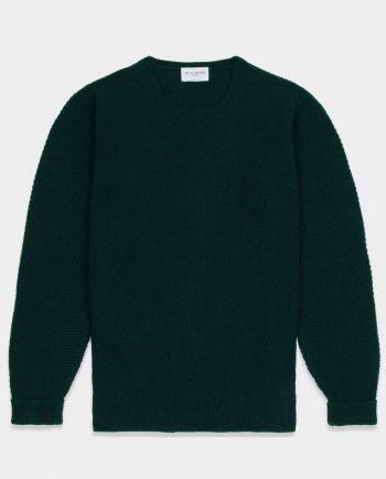 Last of England Moss Stitch Green Jumper