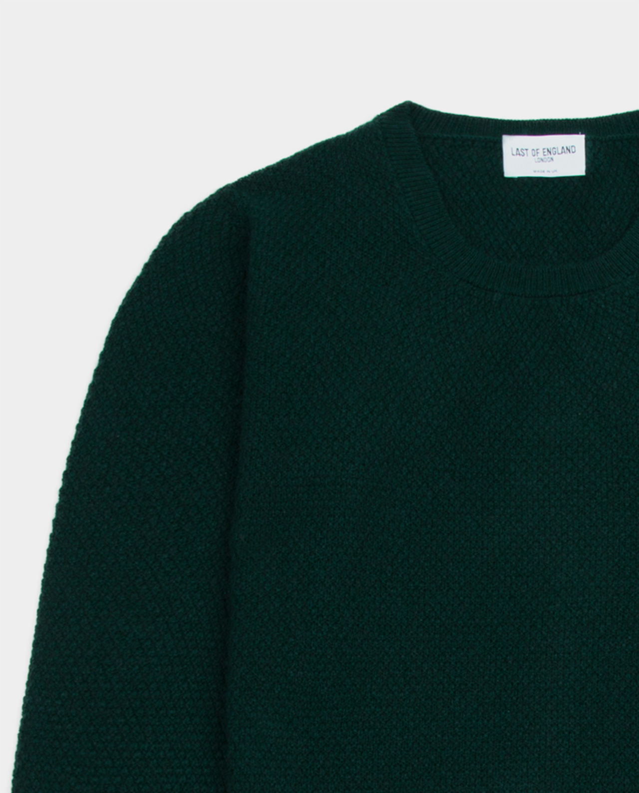 Last of England Moss Stitch Green Jumper