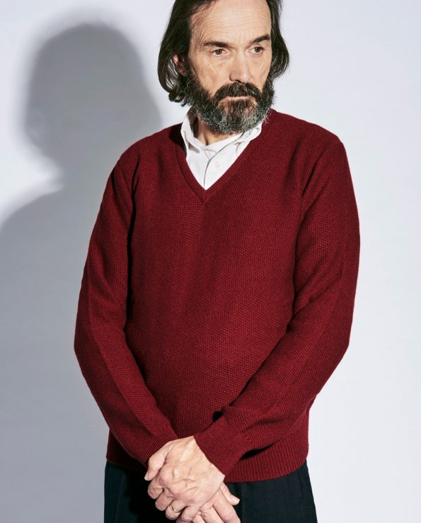 Last of England Honeycomb Stitch Bordeaux Jumper