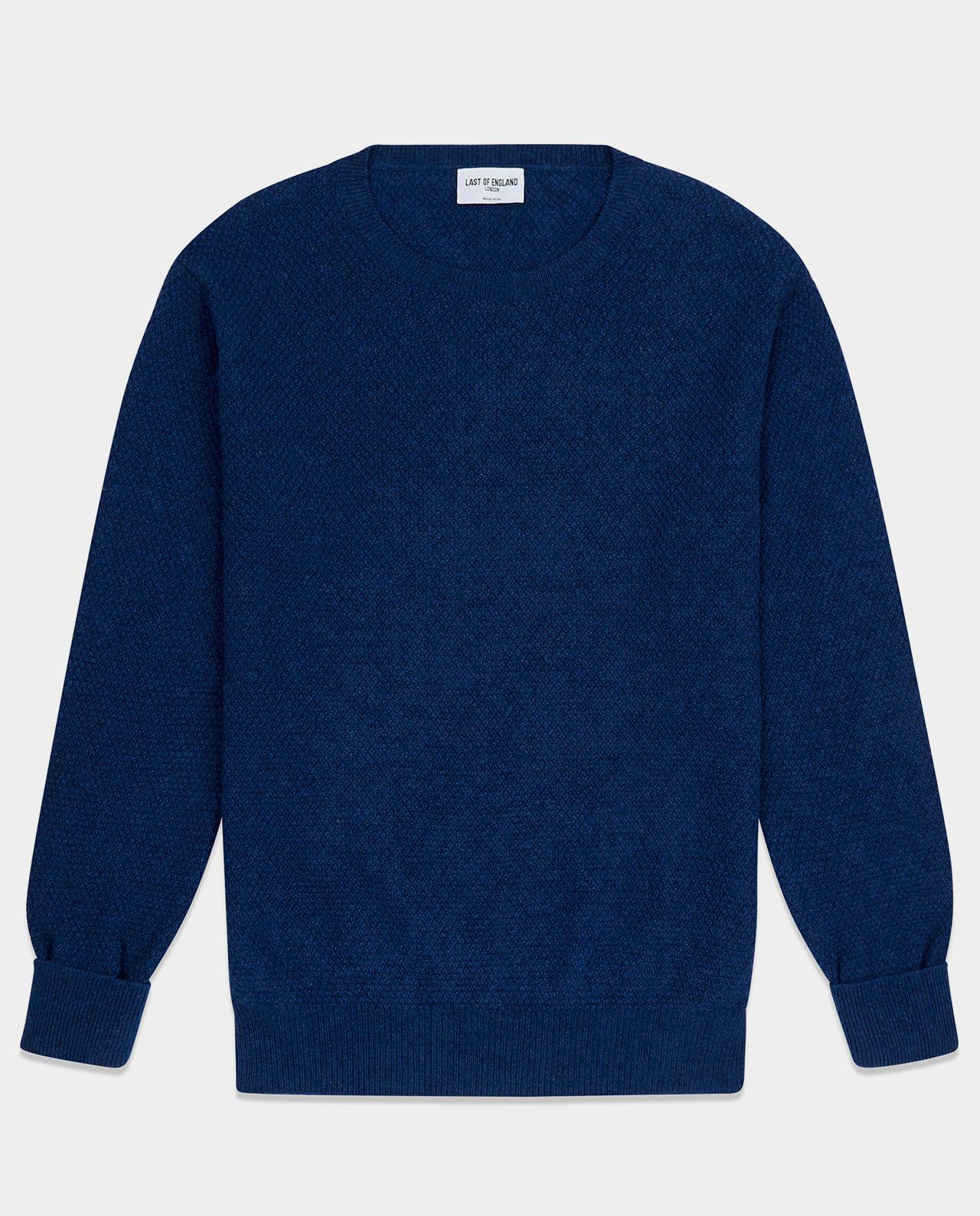 Last of England Last Moss Stitch Indochine Blue Jumper