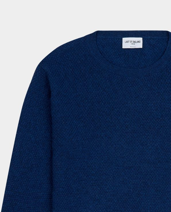 Last of England Last Moss Stitch Indochine Blue Jumper